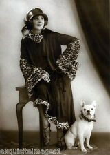 Antique Photo~Well Dressed Woman~French BullDog~Dogs~Hat~ NEW Large Note Cards