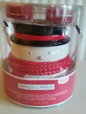 Yankee Candle SPARKLING CINNAMON Snowman Tea Light Holder With 4 candles New