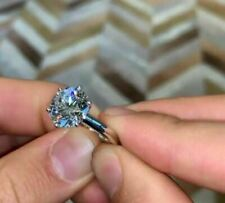 3Ct Round Cut Moissanite Solitaire Engagement Ring Solid 18K White Gold Finish