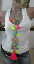 XXL Hippie Necklace Chain Tassel Beads Shell Bobble Festival Ibiza Neon