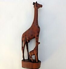 Giraffe Figurine Carved Wood With Baby African Hand Craft  38 cm