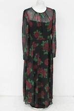 HOBBS Ladies Lolita Black & Red Floral Scoop Neck Maxi Belted Dress UK12 NEW