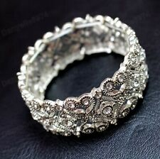 CRYSTAL BANGLE vintage antique style BRACELET  filigree ORNATE silver rhinestone
