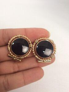 Nice Vtg Destino 12K Gold Filled Black Onyx cufflinks