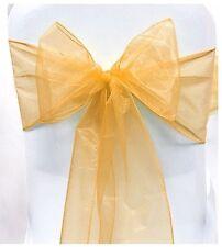 5 Gold Organza Sashes Chair Cover Fuller Bow Sash Wider Sash Wedding Party