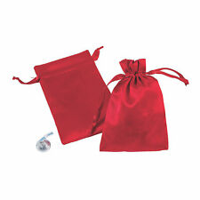 Mini Red Satin Drawstring Bags - Party Supplies - 24 Pieces