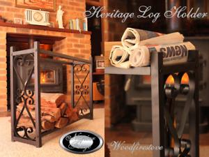 HERITAGE Wrought Iron Style Firewood Log Storage Rack / Wood Rack Log Holder