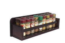 Spice Rack - Wooden - Open Top - 1 Tier - Wooden Bar - 18 Herb and Spice Jars