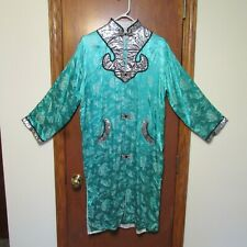 Vintage Mint Green Chinese Robe Dress Mandarin Collar Silver Black Red, Sz. M