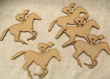 AN9 3mm Mdf Laser Cut Set Of 5 Running Horse & jockey . Craft Blanks