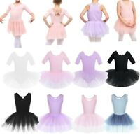 Kids Girls Ballet Skate Tutu Dress Leotard Gymnastics Ballerina Dance Costume