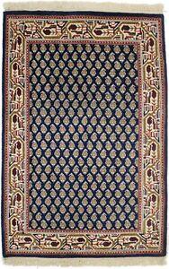 Floral Paisley Design Indo-Botemir Small 2X3 Handmade Navy Oriental Rug Carpet
