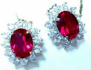 Fashion Red Cubic Zirconia Ruby 18KWGP Crystal Stud Women Lady Girl Earrings