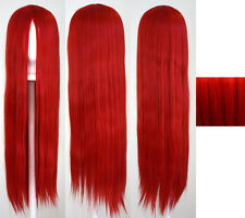 32'' Long Straight No Bangs Scarlet Red Cosplay Wig NEW