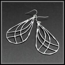Large Hammered Metal Brushed Silver Teardrop Weave Cut Out Earrings Wire Rustic