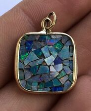 Modernist 14K Yellow Gold Australian Black Rainbow Opal Mosaic Inlay Pendant