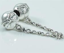 Authentic Genuine Pandora Silver Dainty Bow Safety Chain 791780CZ