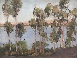 """Original Oil Painting By Isabel Mackenzie """"Gumtrees At River"""""""