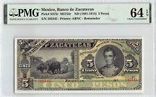 Mexico, Banco de Zacatecas ND (1891-1914) P-S475r PMG Choice UNC 64 EPQ 5 Pesos