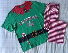 Mens 'Grandad Elf' Santa's Helper Christmas PJ's Set/Pyjamas/Loungewear ~ Small
