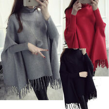 Womens Lady Turtleneck Bat Wing Sleeve Tassel Knit Sweater Cardigans Poncho Cape