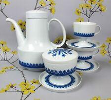 Elegante Retro Blue & White Rosenthal Tapio Wirkkala Caffè Set/servizio. Germania.
