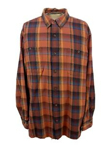 Duluth Trading Co Men's Free Swingin' Flannel Shirt 3XL Relaxed Fit Orange Blue