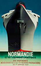 """Vintage Illustrated Ship Travel Poster CANVAS PRINT 8""""X10"""" Normandie France"""