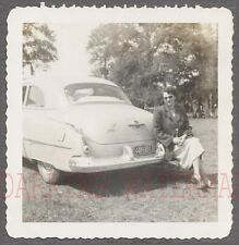 Vintage Car Photo Pretty Girl w/ 1950s Oldsmobile Olds Automobile 774532