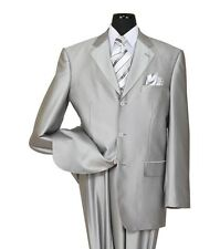 New Men's 3 Button Elegance Wool Feel Suits Shark Skin Look Silver Size 38R~60L