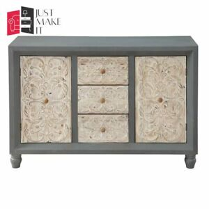MADE TO ORDER Hand Carved Indian Handmade Solid Wood Grey Sideboard Floral