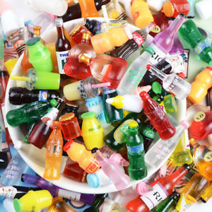 30Pcs Cartoon Resin Simulation 3D Drink Bottle Miniature Art Flatback Cabochon