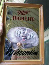 Vtg 1994 Miller High Life Wisconsin The Badger State Beer Mirror