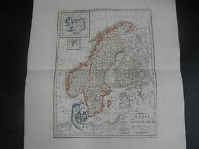 1847 COPPER ENGRAVING MAP OF SWEDEN DENMARK AND NORWAY EDITED IN NAPLES ITALY