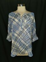 TORRID Plus Size 1 1X Blouse Shirt Top Blue White Black Semi-Sheer 3/4 Sleeve