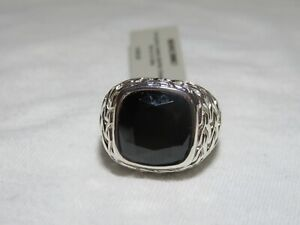 John Hardy Men's Women's Sterling Silver Classic Chain Faceted Onyx Signet Ring