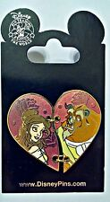 2016 Beauty & the Beast 2 piece hinged HEART PIN Disney Park Pins - NEW