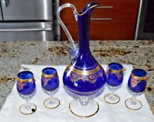 ITALIAN GLASS COBALT BLUE & Gold Glass Decanter SET with  4 glasses