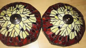 2 x Tiffany Style lamp Shades Stained Glass Pendant Ceiling Light Art Deco
