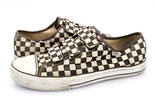 Vans Mens 10.5 Brown White Checkers 3 Strap Sneakers Shoes