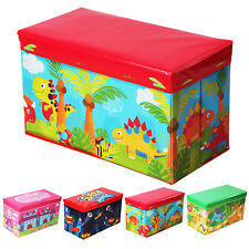 Boys Girls Kids Large Folding Storage Toy Box Books Chest Clothes Seat Stool