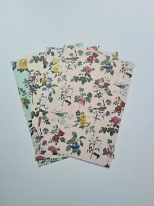 4 A4 Sheets Craft Paper Flowers Rose Fruit Birds Leaves Pink Green Yellow Peach