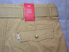 NEW LEVIS levi's size 32 SNAP CARGO SHORTS beige with BELT mens men's NWT