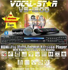 VOCAL-STAR VS-1200 HDMI BLUETOOTH KARAOKE MACHINE 2 VHF WIRELESS MICS 150 SONGS