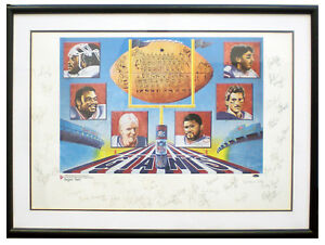 New York Giants Autographed 1986 Super Bowl Champions SIGNED Lithograph STEINER