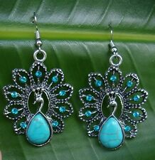 BEAUTIFUL Turquoise Peacock Drop Earrings with Turquoise Blue Gems