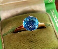 Vintage 10k rose gold ART DECO 1940's LARGE ROUND BLUE TOPAZ ENGAGEMENT ring