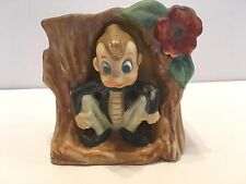 Vintage Big Eyed Elf Pixie Sitting On A Tree Trunk Planter Matt Finish Japan