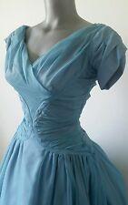 Blue Nylon Chiffon & Taffita True 1950s Prom Dress Full Skirt Petticoat