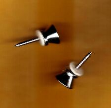 1 Pair of Guitar Strap Buttons, Metal, Chrome, with screws and felt washers.